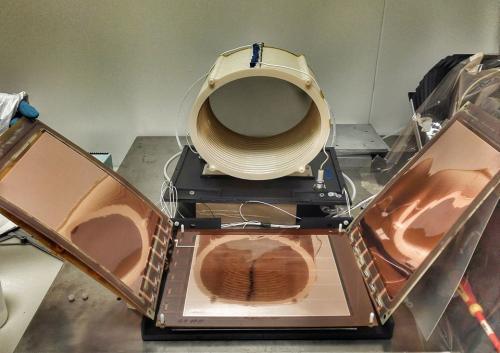 Fig 1: LEMON prototype elliptical field cage and 20*24 cm LHCb type GEM readout system